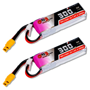 GNB 300mAh 2s 7.6v 80c Lipo Battery with XT30 FPV Plug for RC Racing Drone - 2 Pack