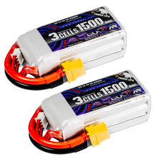 Load image into Gallery viewer, Coddar 1500mAh 3s 11.1v 110c Lipo Battery with XT60 FPV plug for RC Racing Drone - 2 pack