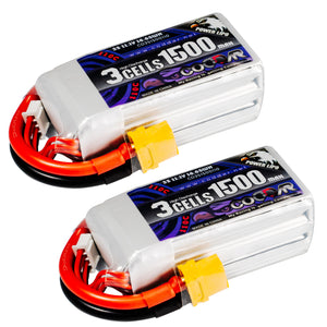 Coddar 1500mAh 3s 11.1v 110c Lipo Battery with XT60 FPV plug for RC Racing Drone - 2 pack