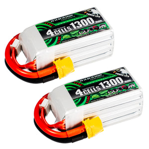 Coddar 1300mAh 4s 14.8v 110c Lipo Battery with XT60 FPV Plug for RC Racing Drone - 2 Pack
