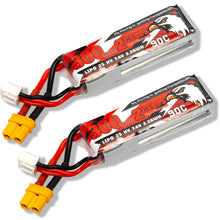 Load image into Gallery viewer, Coddar 300mAh 2s 7.6v 90c Lipo Battery with XT30 FPV plug for RC Racing Drone - 2 Pack