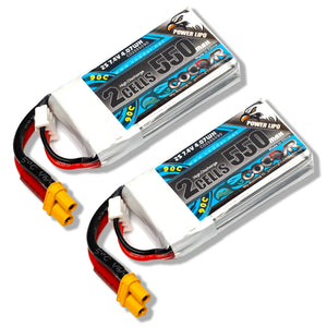 Coddar 550mAh 2s 7.4v 90c Lipo Battery with XT30 FPV plug for RC Racing Drone - 2 Pack