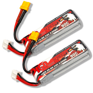 2 Pack - Coddar 450mAh 2s 7.6v 90c Lipo Battery with XT30 FPV plug for RC Racing Drone
