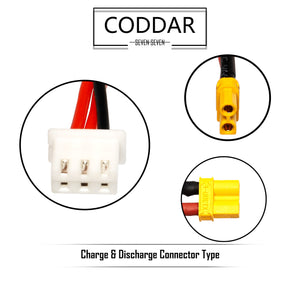 Coddar 300mAh 2s 7.6v 90c Lipo Battery with XT30 FPV plug for RC Racing Drone - 2 Pack