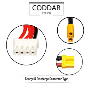 2 Pack - Coddar 350mAh 3s 11.4v 50c Lipo Battery with XT30 FPV plug for RC Racing Drone