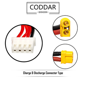 2 pack - Coddar 1500mAh 3s 11.1v 110c Lipo Battery with XT60 FPV plug for RC Racing Drone