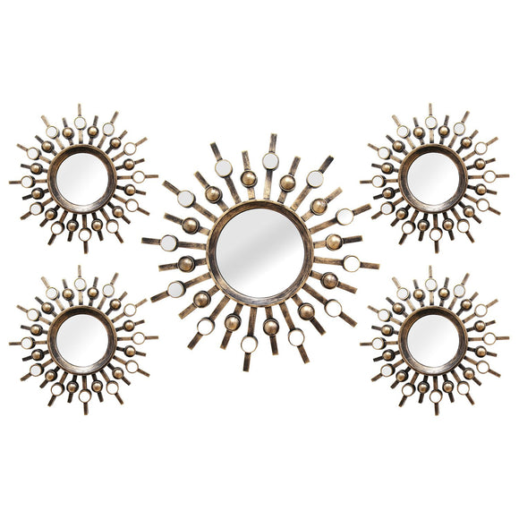 Bronze 5Pcs Burst Wall Mirrors
