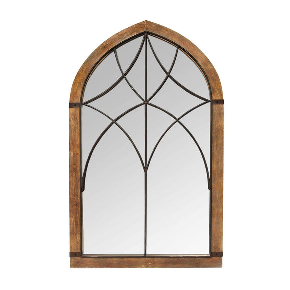 Wood Metal Cathedral Mirror