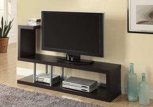 Cappuccino Hollow Core and Silver Metal TV Stand