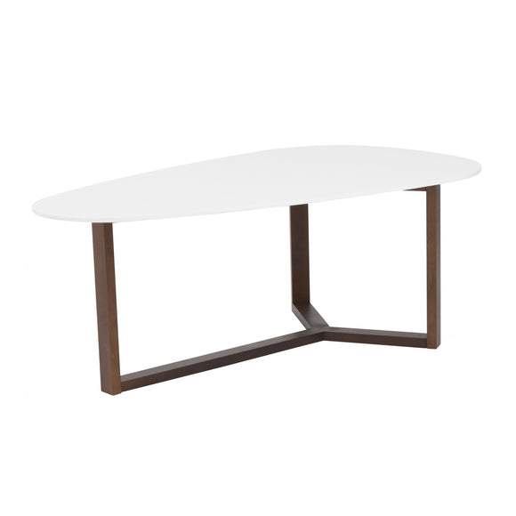 Matte White with Dark Walnut Base Coffee Table