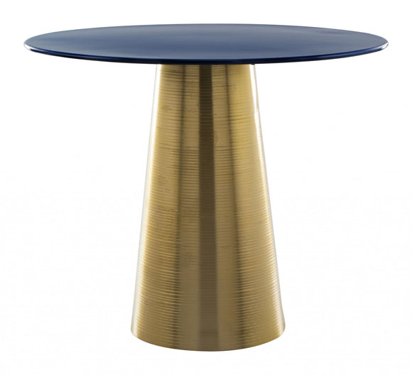 Dark Blue & Gold, Porcelain Enamel, Iron, Side Table