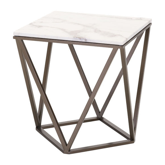 Stone And A. Brass Faux End Table