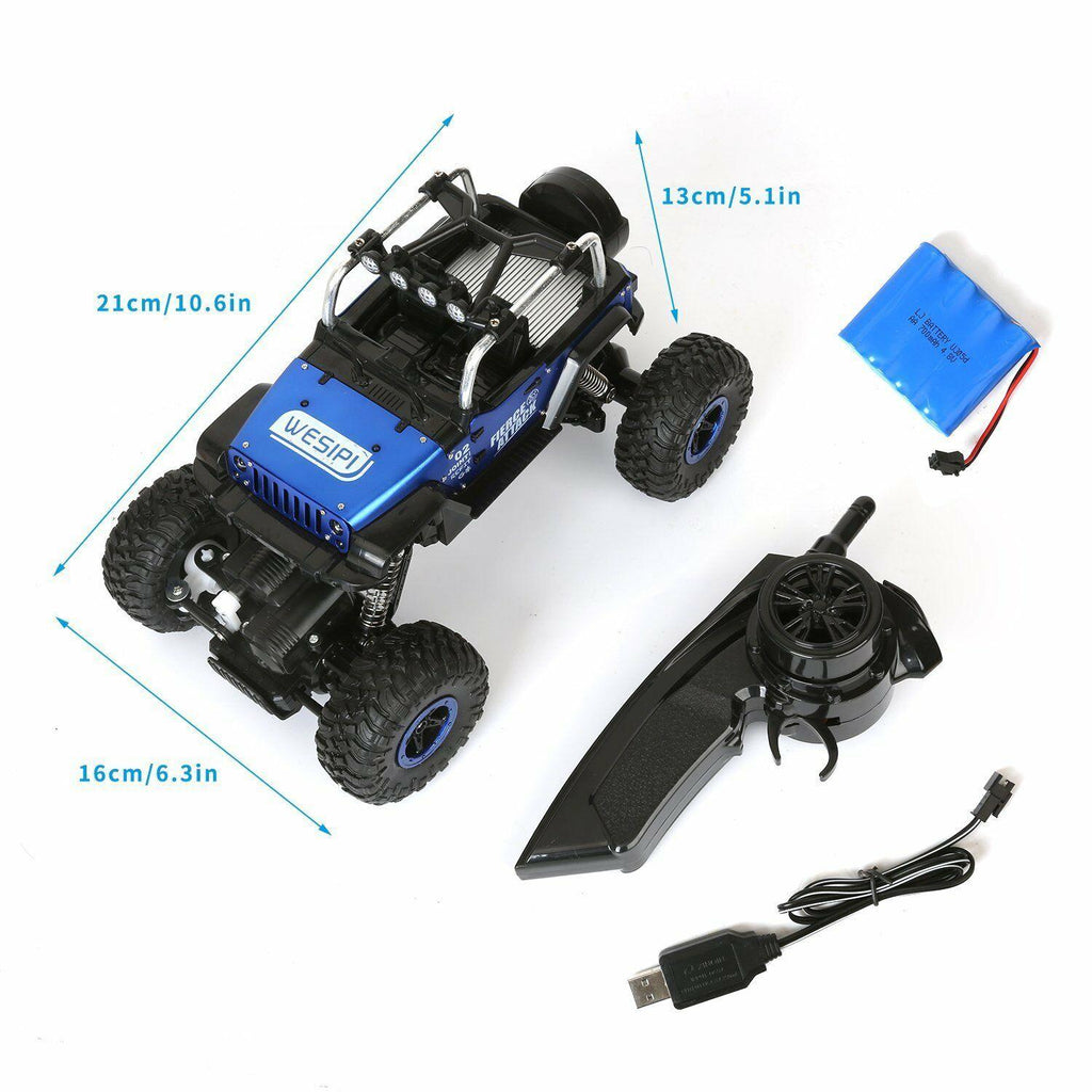 Au store 1:18 RC Radio Remote Control Off-road Jeep Trucks 4WD with LED Light