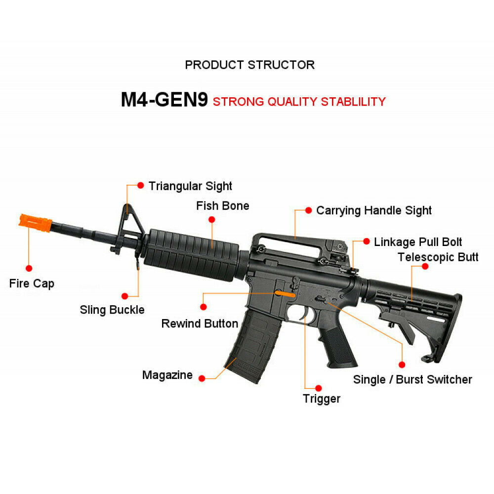 NEW NYLON JINMING GEN9 M4A1-J9 Gel Blaster 2 IN 1 STYLE AUTO MAG-FED ADULT SIZE