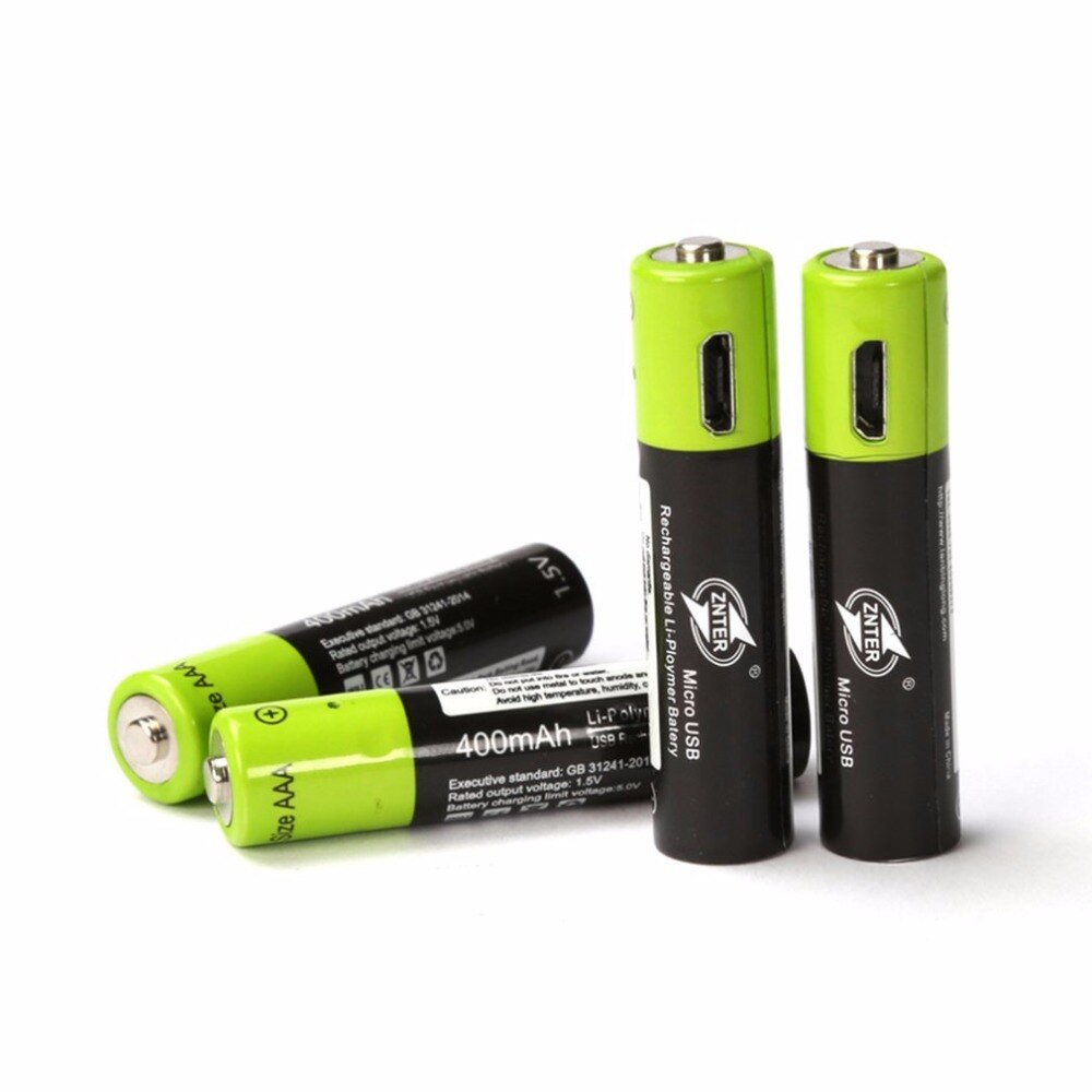 USB Cell Rechargeable AAA Battery 1.5V 400mAh