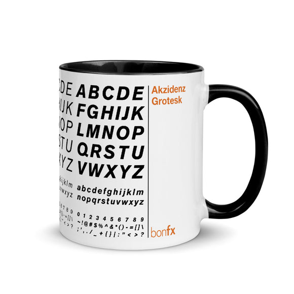 Akzidenz Grotesk 11 oz. White Gloss Mug / Black Inside