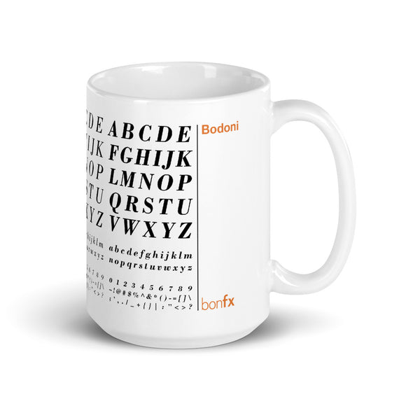 Bodoni 15 oz. White Gloss Mug