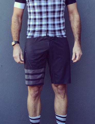 Retro Pinstripe Grey Shorts