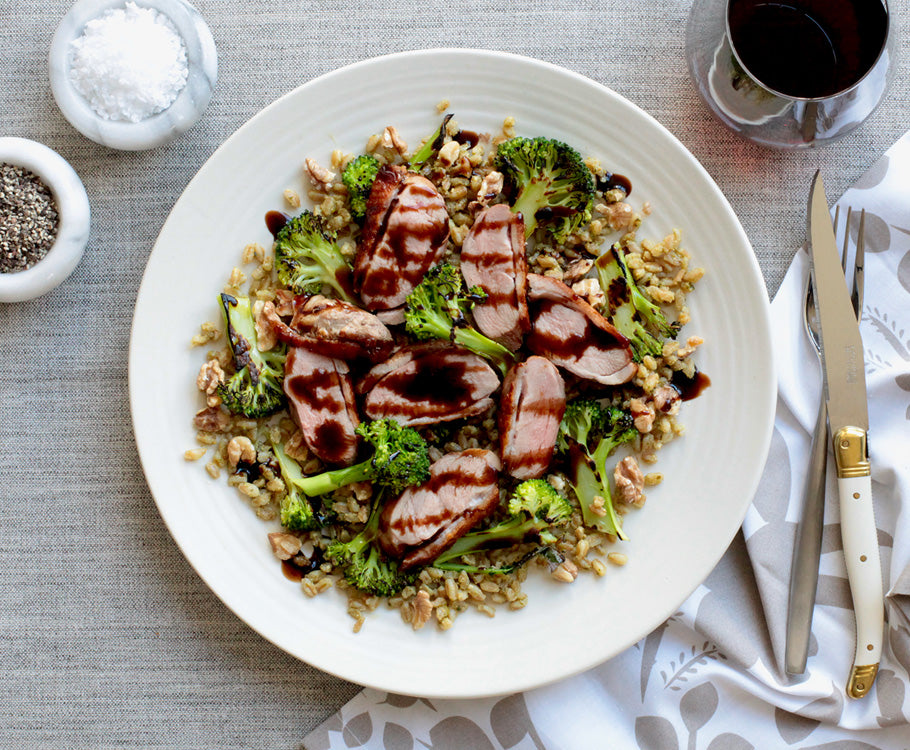 Sabato - Crispy-Skin Duck with Farro, Charred Broccoli & Giusti Balsamic Glaze