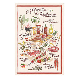 French Cotton Tea Towel ~ Barbeque