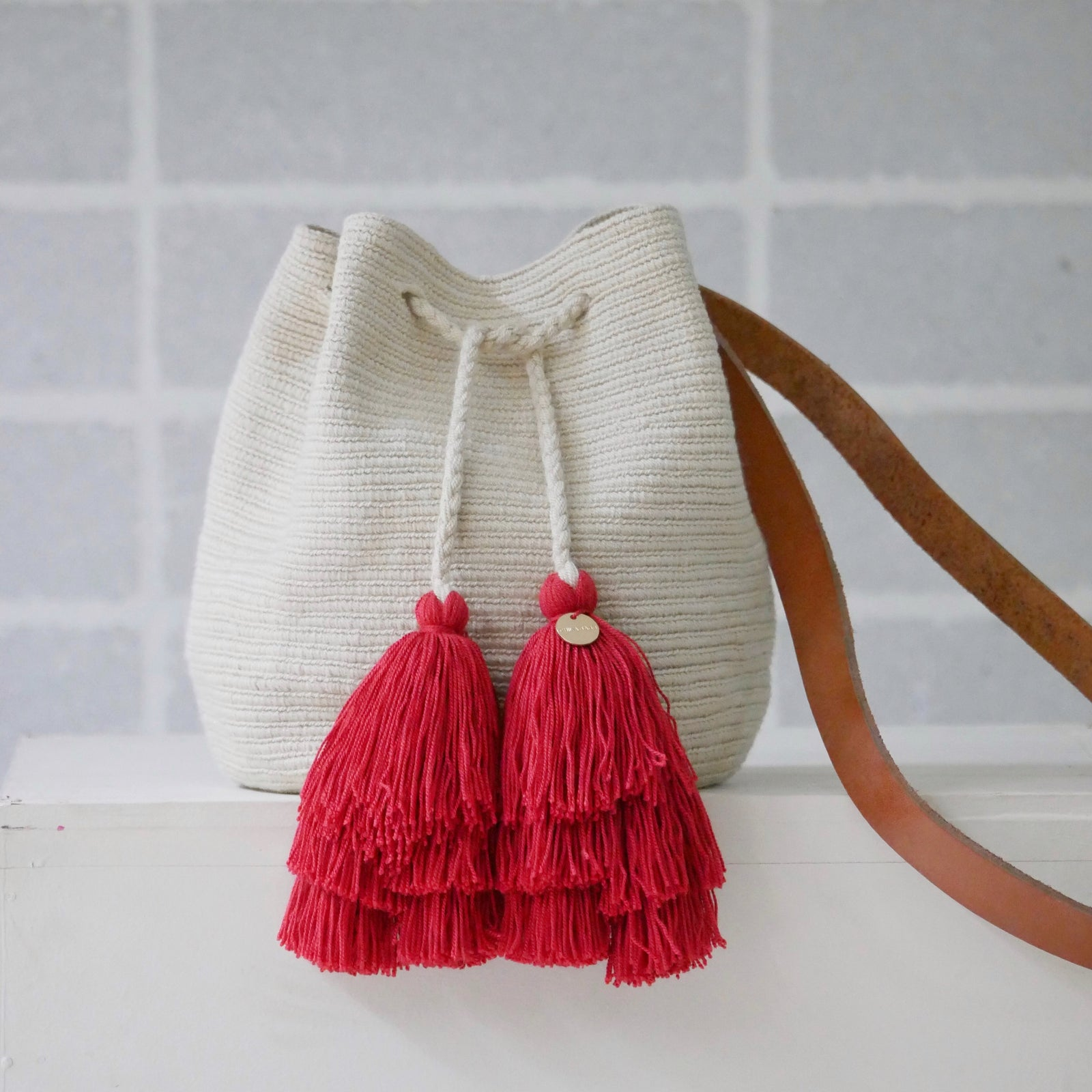Cream Bag with Leather Strap
