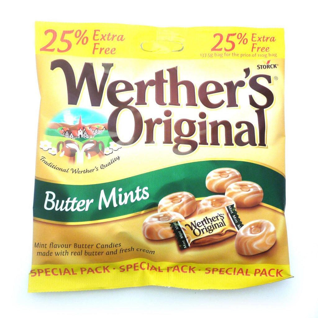 Werthers Originals Butter Mints 25% Extra 137.5g (Box of 24)