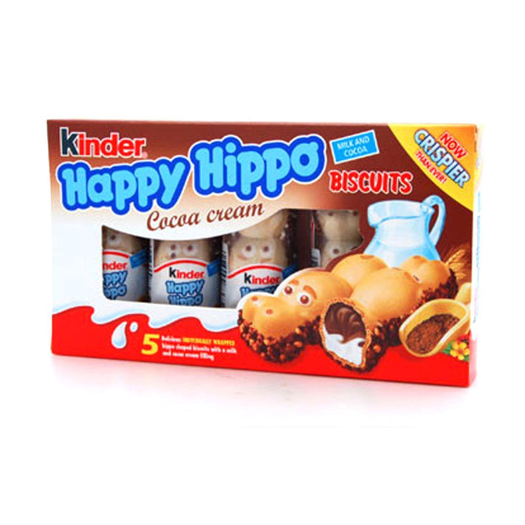 Kinder Happy Hippos Milk & Cocoa Biscuit 7g (10 Packs of 5, Total 50)