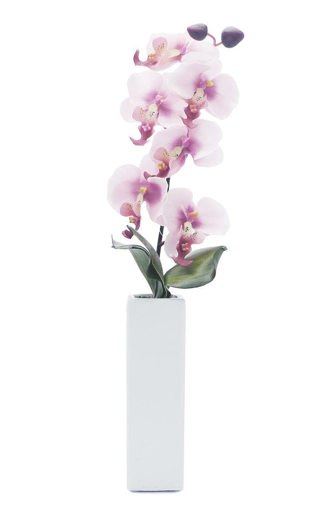 Artificial Orchid in Thin White Vase