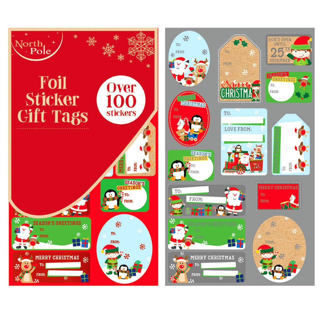 Christmas Cute Foil Sticker Gift Tags - Over 100 Stickers