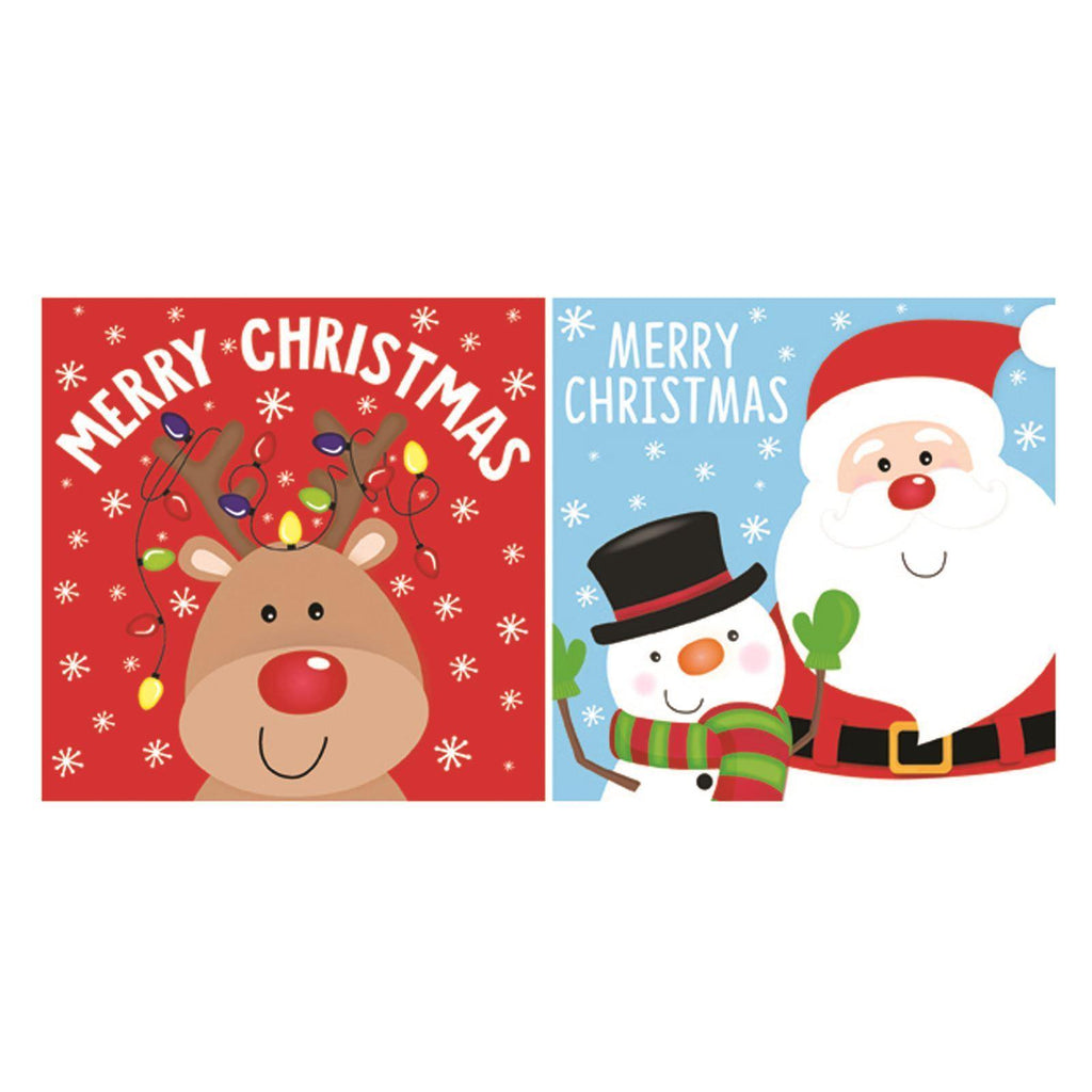 20 Luxury Christmas Cards - Santa & Snowman and Rudolph the Reindeer