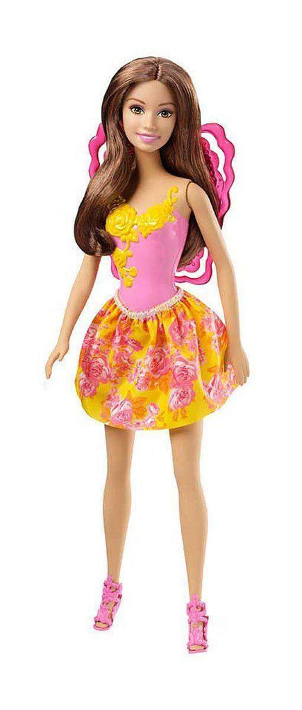 Barbie Fairytale Fairy Doll CHM59 - Brunette in Pink & Yellow