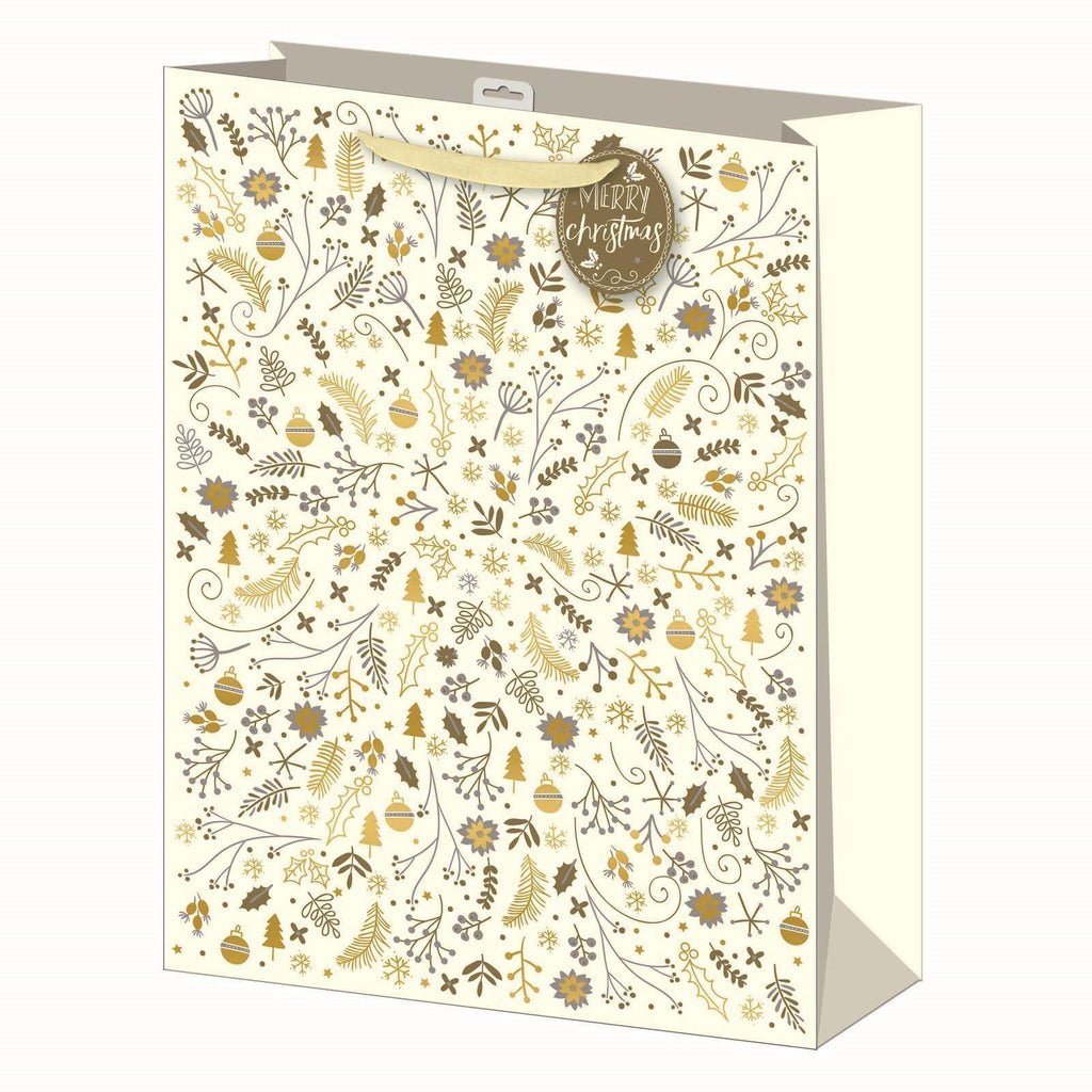 3 x Christmas Cream & Gold Design Gift Bags - Extra Large 45x33cm