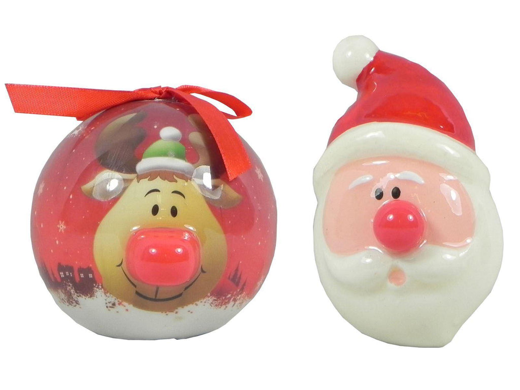 Set of 2 LED Light Up Nose Christmas Tree Bauble Decorations - Santa and Reindeer