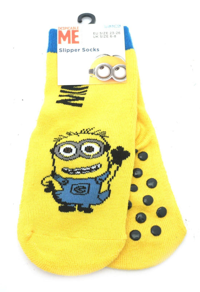 Despicable Me Minion Slipper Socks with Grippers - Yellow - Size 6-8