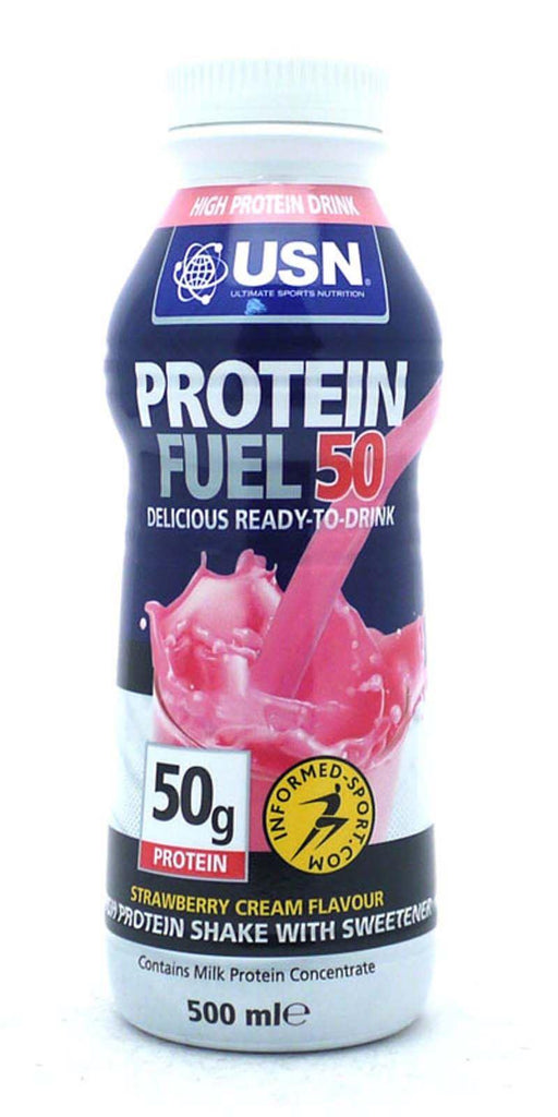 USN Protein Fuel 50g RTD Protein Shakes 500 ml - Strawberry (6 Bottles)