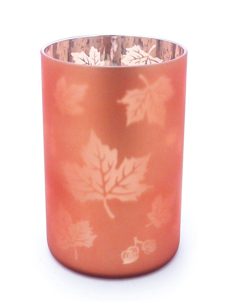 Yankee Candle Glass Hurricane Amber Leaf Candle Holder