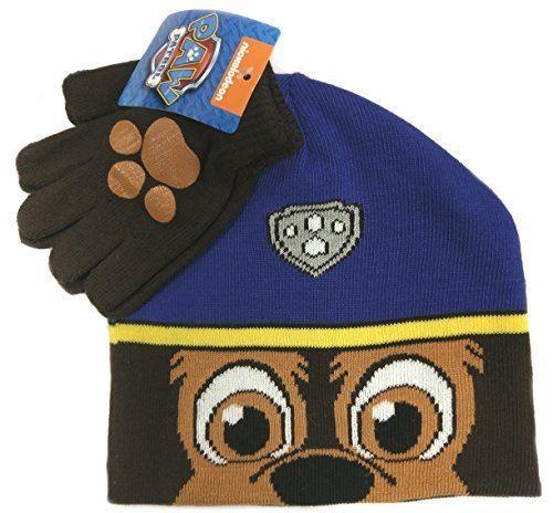 Paw Patrol Chase Childrens Winter Beanie Hat & Gloves Official Set