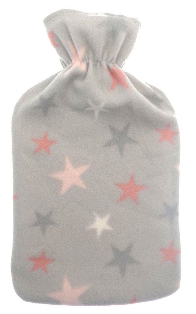 Grey Fleece Covered Hot Water Bottle with a Star Design