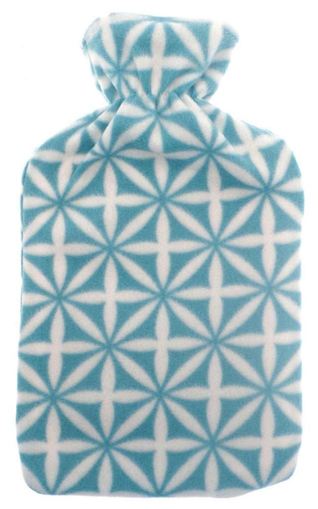 Blue and White Fleece Covered Hot Water Bottle with a Geometric Design