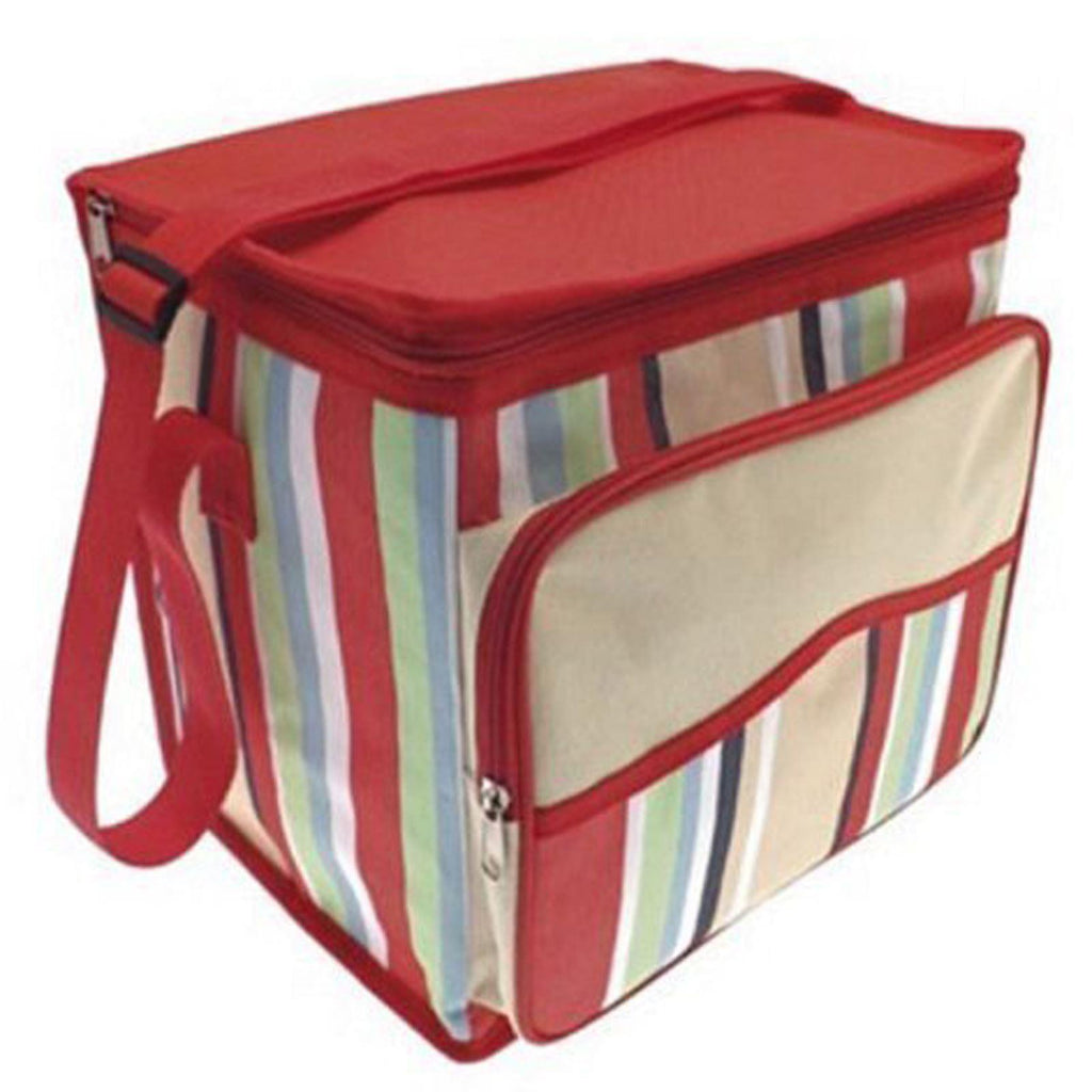 Large Insulated Cooler Bag with Strap and Front Pocket - Red