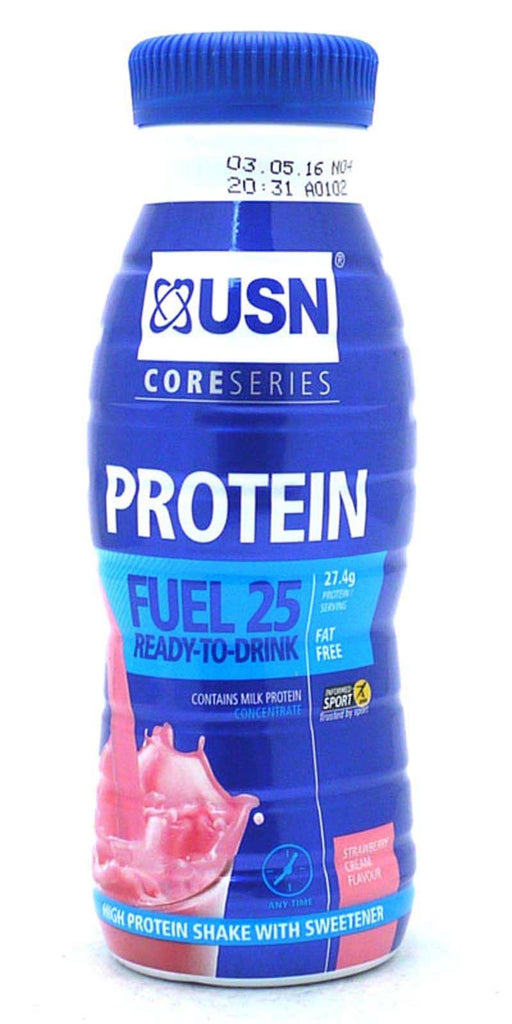 USN Protein Fuel 25g RTD Protein Shakes 330 ml - Strawberry (8 Bottles)