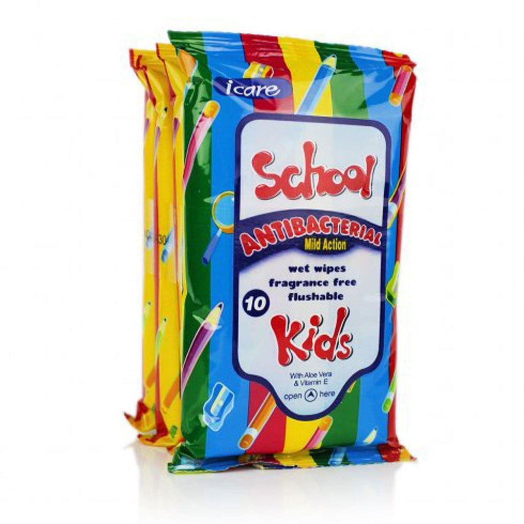 Icare Kids School Antibacterial Wipes (4 Packs of 10'S)