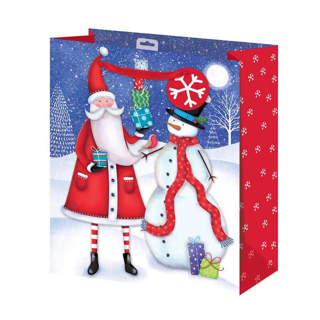 Christmas Gift Bag Large Santa & Snowman