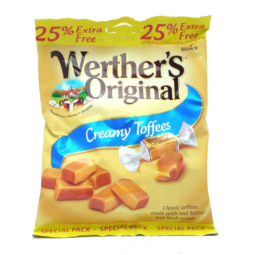 Werthers Chewy Toffee Bags 25% Extra Free 137.5g (Box of 24)