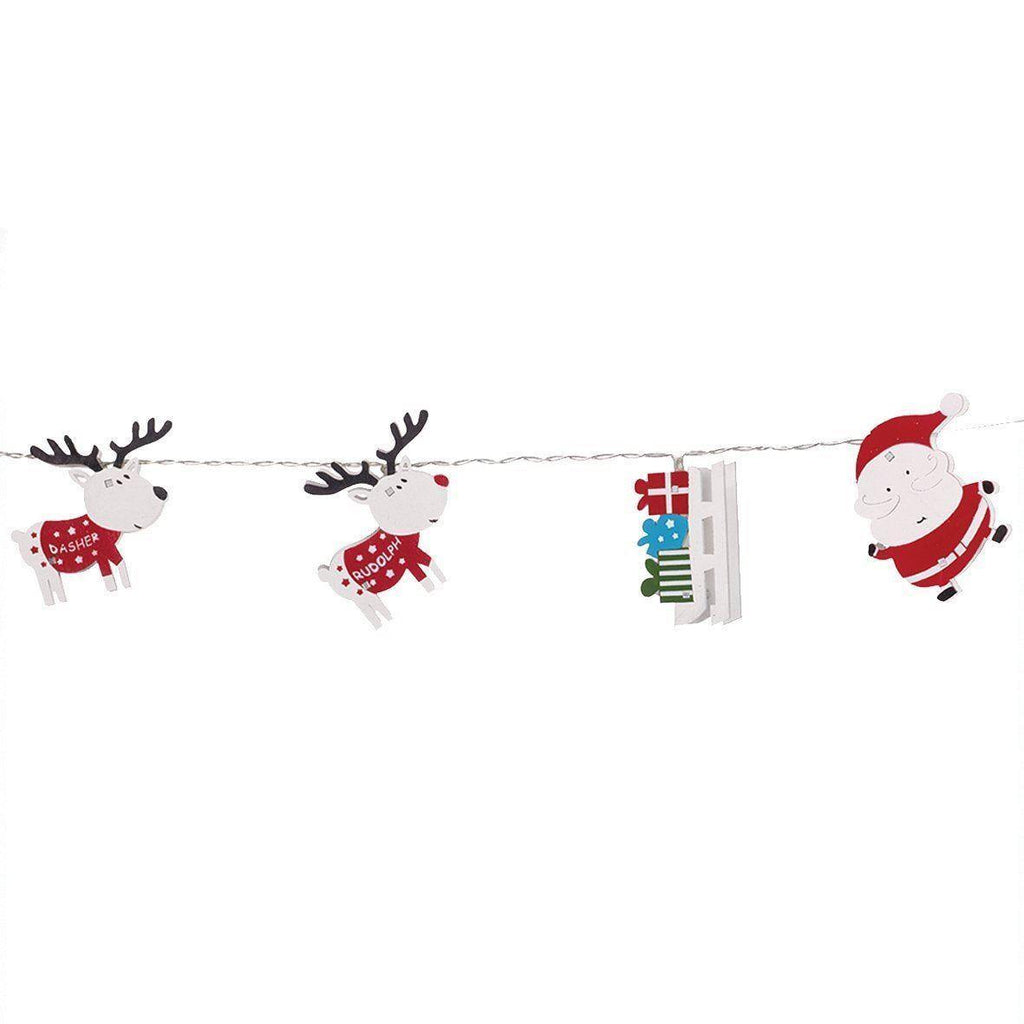 Christmas Tree LED String Lights - 11 Decorations Santa Reindeer Xmas Sleigh