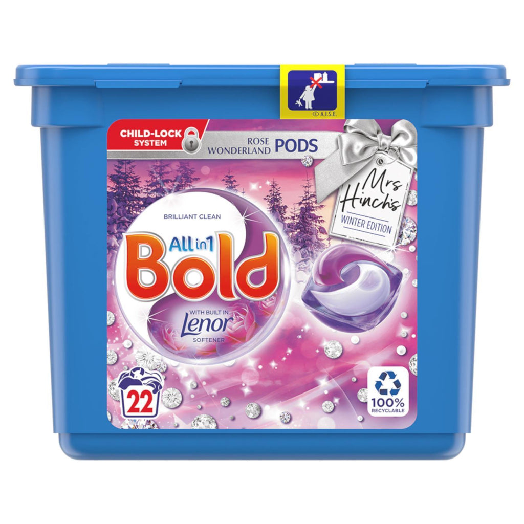 Bold Laundry Pods Rose Wonderland Mrs Hinch Winter Edition with Lenor Softener - 22 Wash