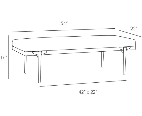 Andrea Rectangular Bench - Muslin