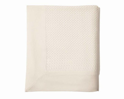 Bari Criss Cross Cashmere Throw - Ivory