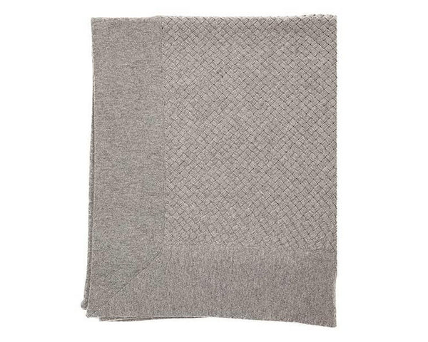 Bari Criss Cross Cashmere Throw - Gray