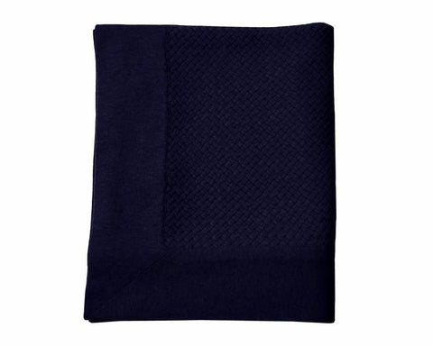 Bari Criss Cross Cashmere Throw - Navy